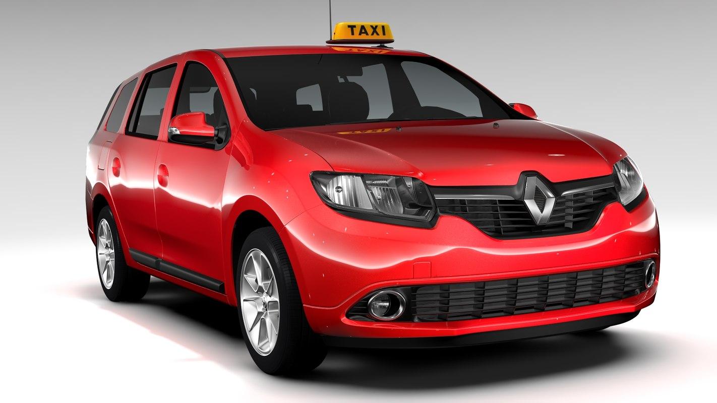 renault logan mcv taxi 3d model