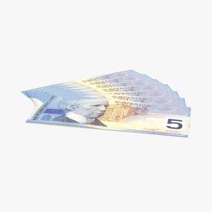 3d model 5 canadian dollar note