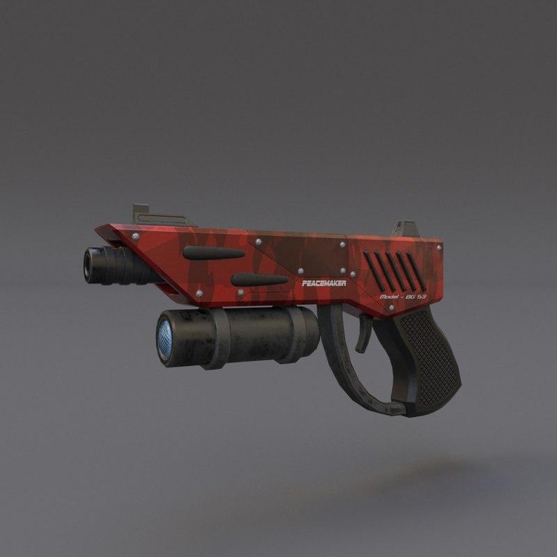 3d scifi pistol