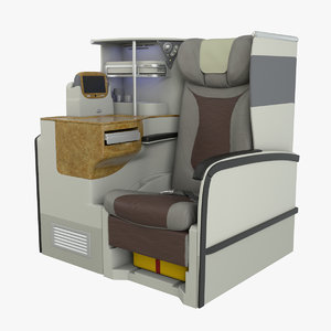 business airplane seat airbus a380 3d model