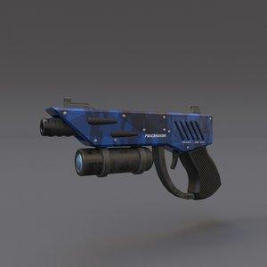 3d model scifi pistol