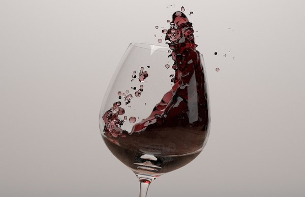 3d red wine glass