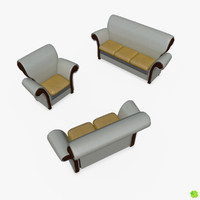 leather set sofas 3d max
