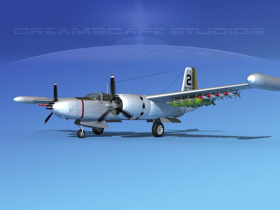 3d model douglas a-26k a-26 bomber