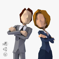 Business Couple Man and Woman Lowpoly Style Real-Time rigged