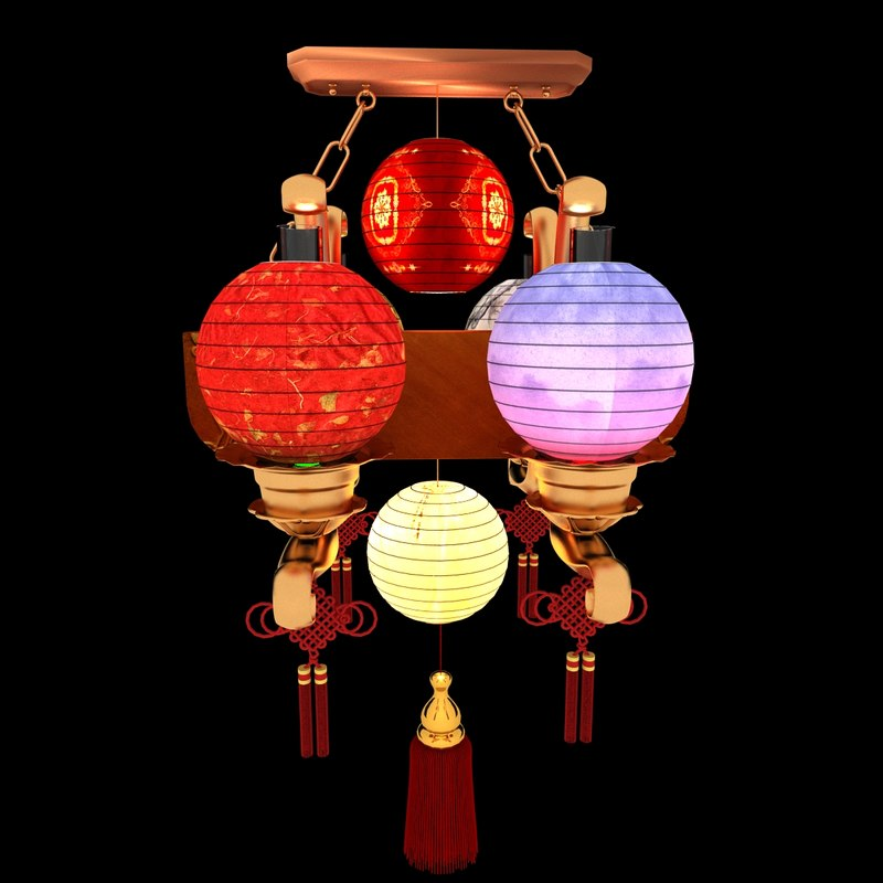 3d chinesered lantern model