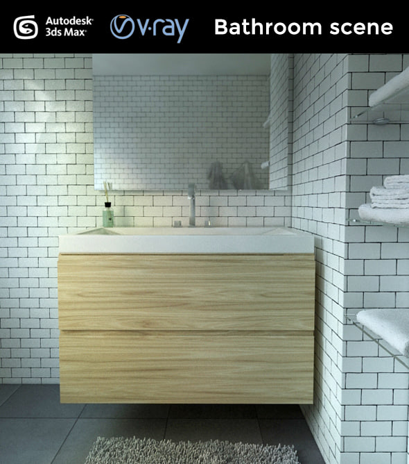 3d model bathroom interior scene