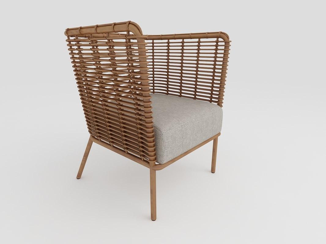 modern rattan armchair 3d max