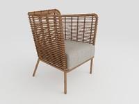 Modern Rattan Armchair