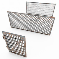 fence metal gates 3d max