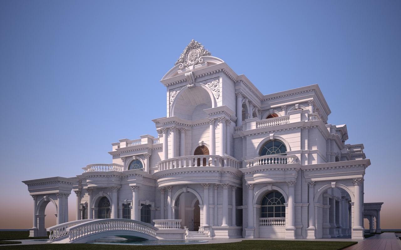 classic villa mansion obj