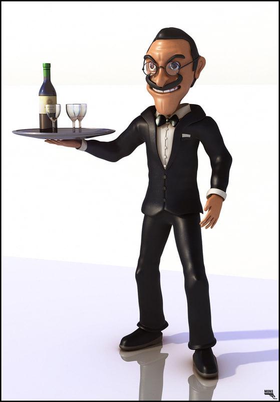 3d waiter cartoon model