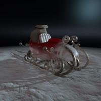 santa sleigh 3d obj
