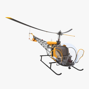 3d model light helicopter bell 47