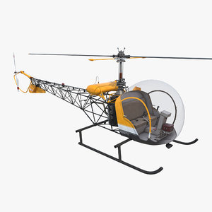 light helicopter bell 47 3d model
