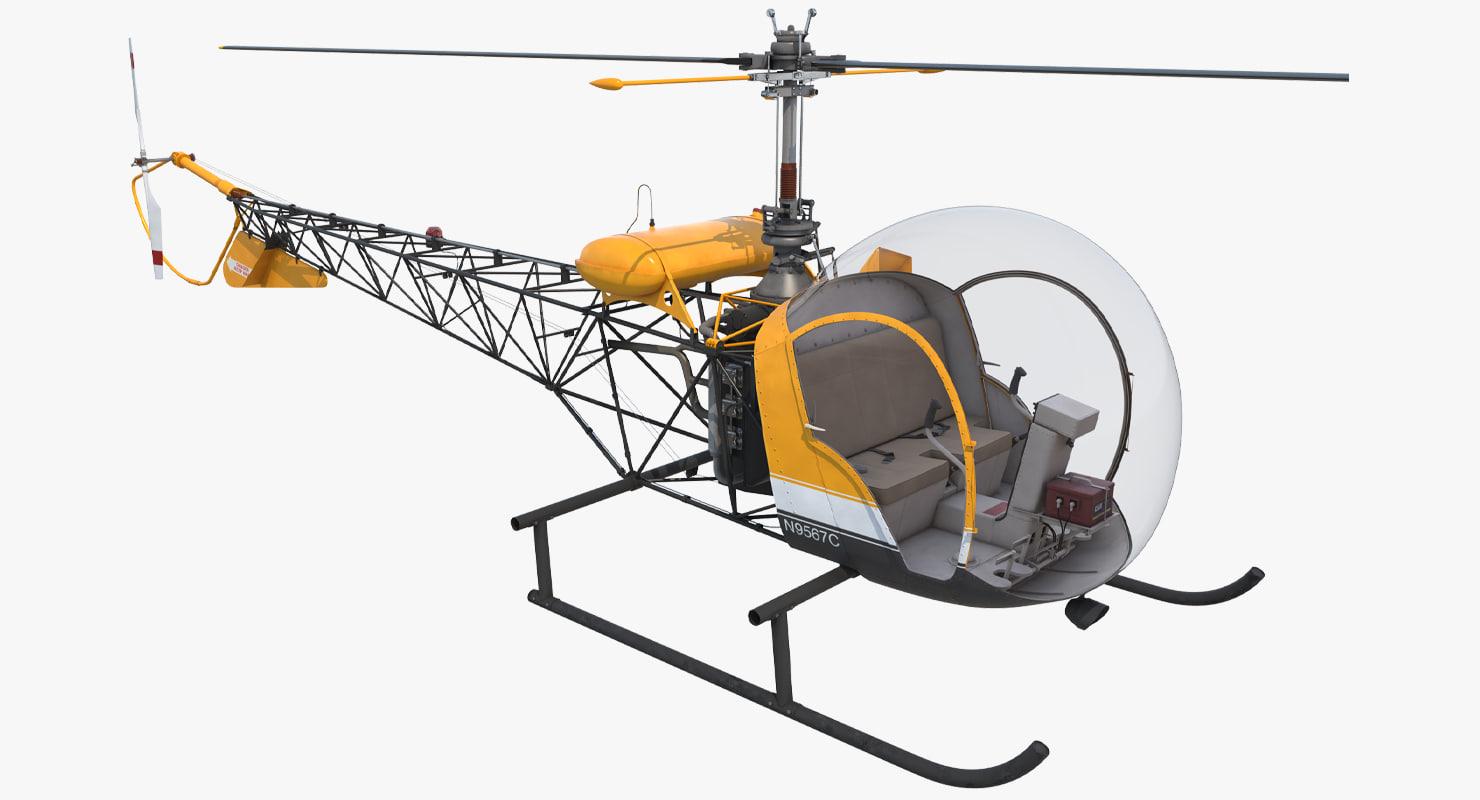 light helicopter bell 47 3d model