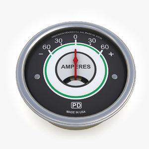 3d model vintage ammeter 06