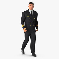 3d airline pilot hair rigged model