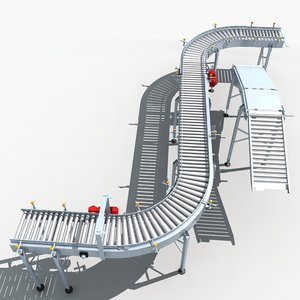 3d model roller conveyor 01