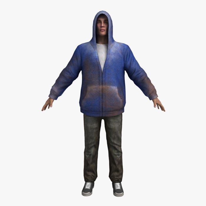3d 3ds games hoodie rigging