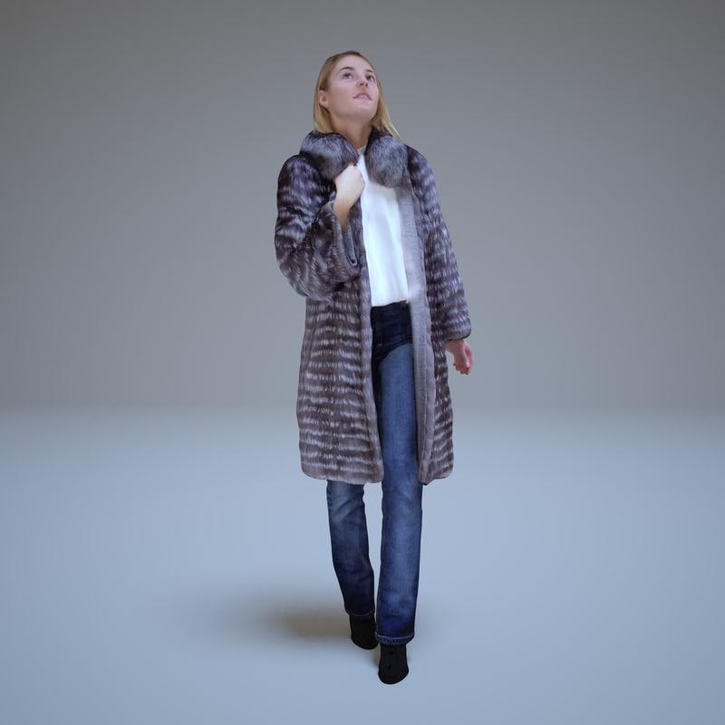 girl fur coat people human 3d model