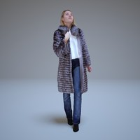 girl fur coat people human 3d model