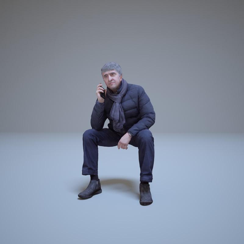 3d sitting casual man phone model