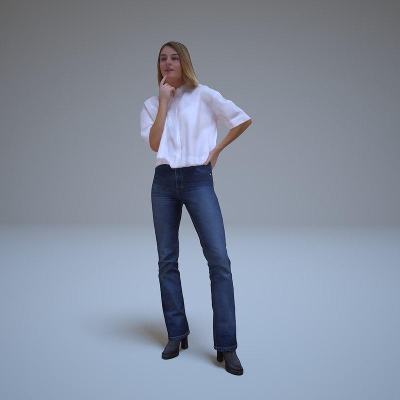 girl thinks people human 3d model