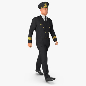 3d model airline pilot rigged