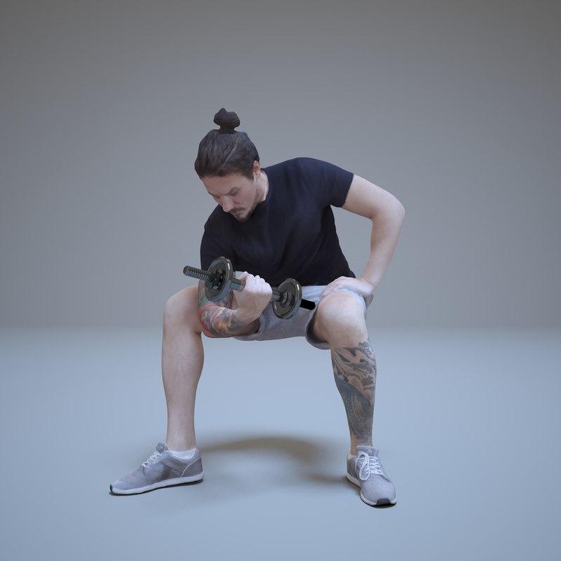sport man dumbbells people human 3d max