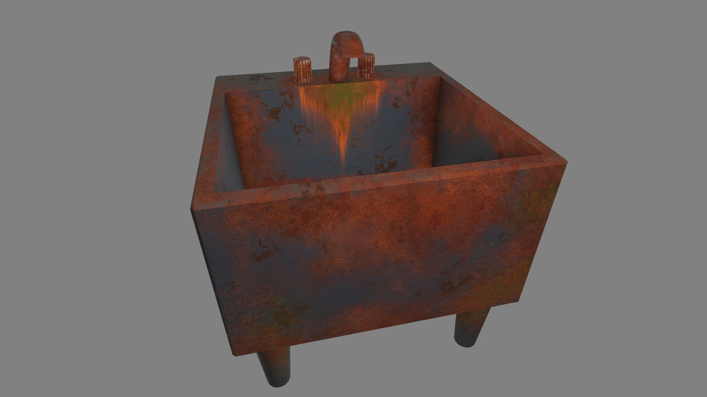 free obj model old rusty sink horror