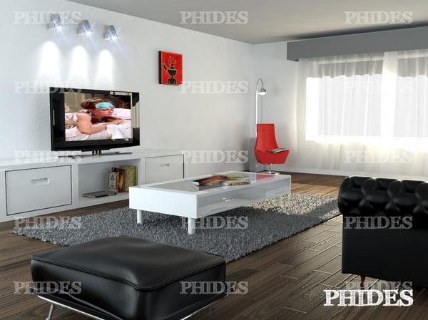 living room 2 3d max