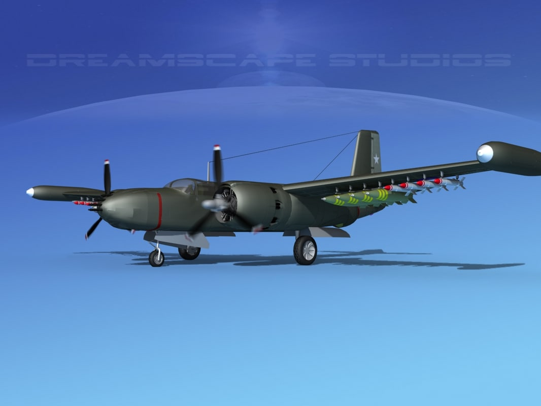 douglas a-26k a-26 bomber 3d 3ds