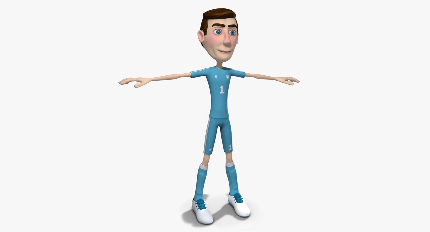 3d model cartoon soccer player man