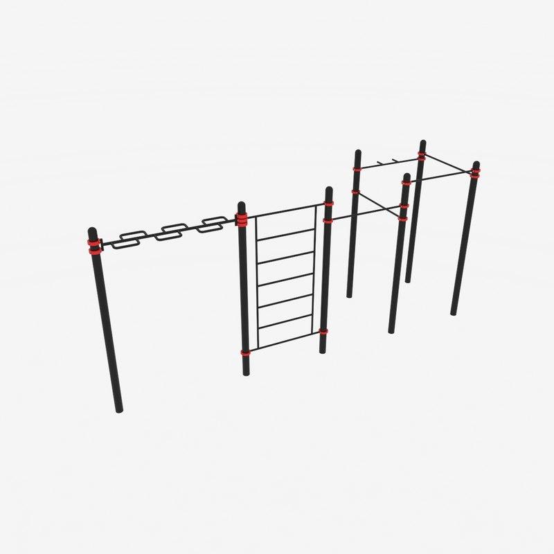 horizontal bar paw-03 3ds