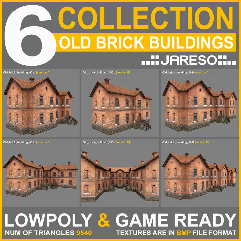 6 industrial style old brick 3d 3ds