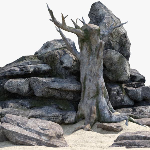 free rock tree 3d model