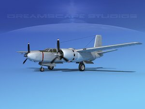 douglas b-26b b-26 bomber 3d max