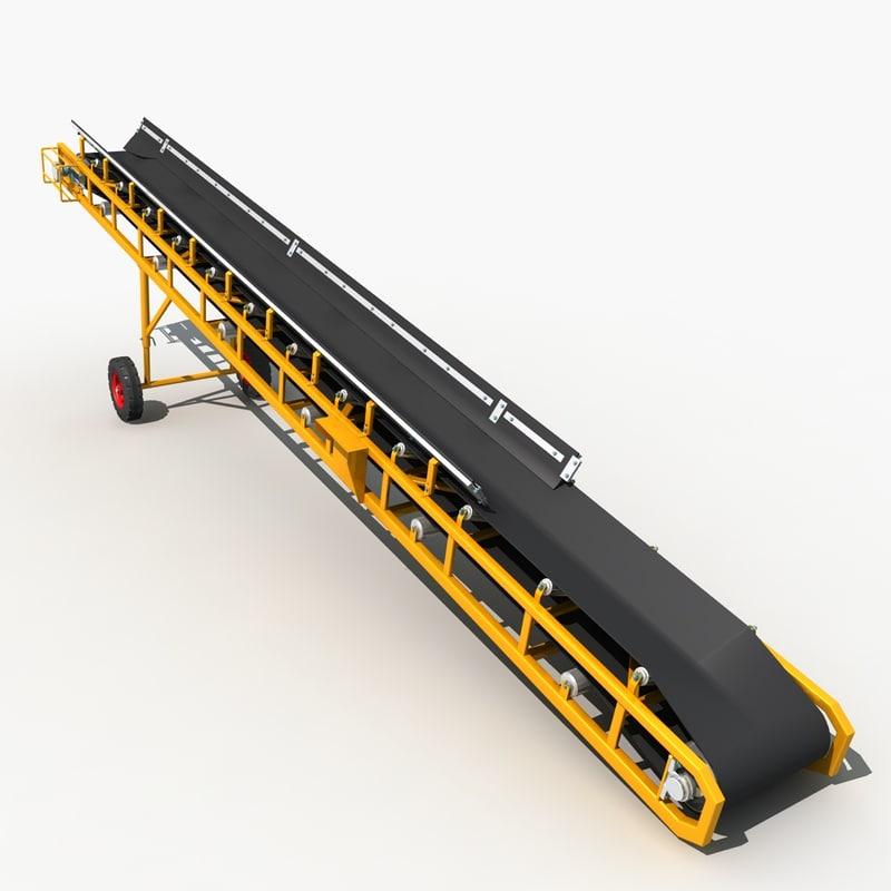 3d tilt belt conveyor model