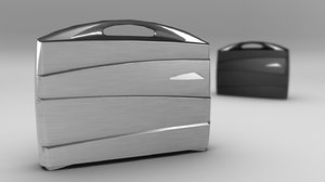 3d metal suitcase