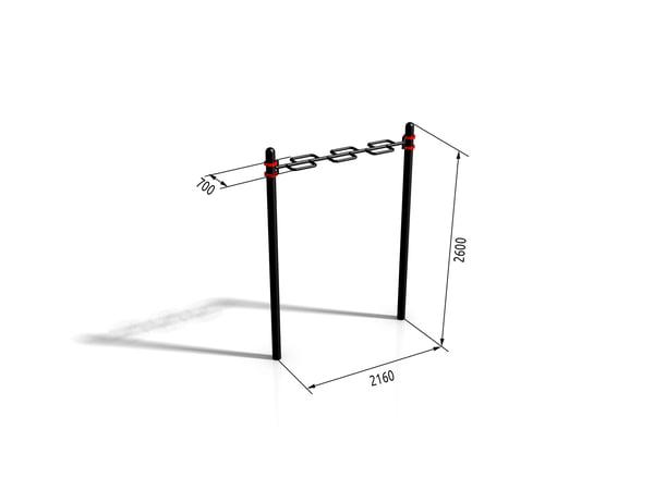horizontal bar paw-05 3d 3ds