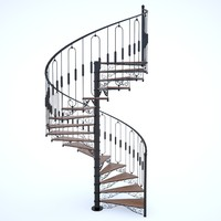 3d model classical spiral staircase