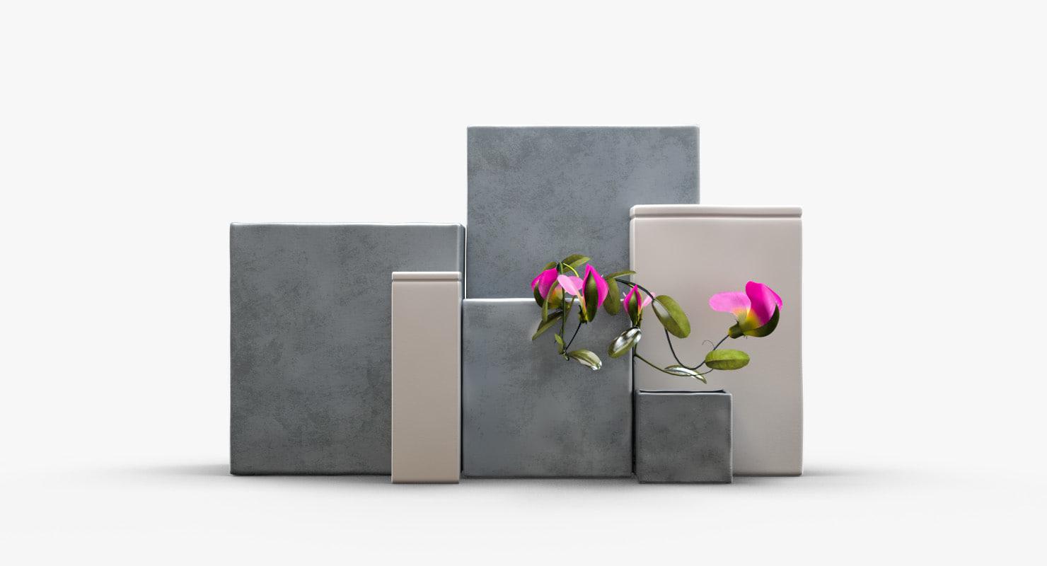 3d model ceramic cubic vases