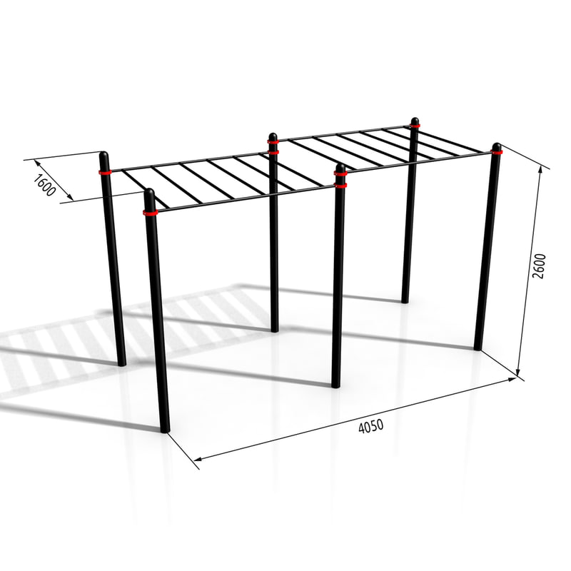 3d horizontal bar paw-02 model