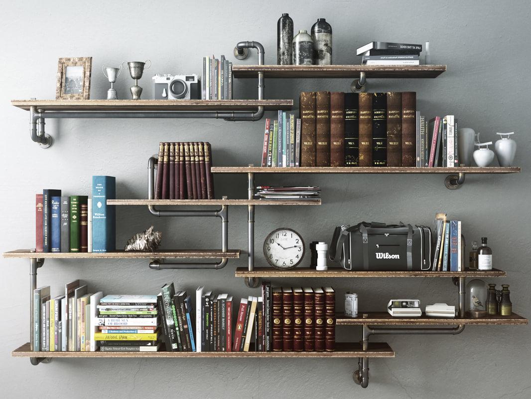 20d model industrial shelves