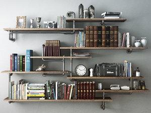 3d model industrial shelves