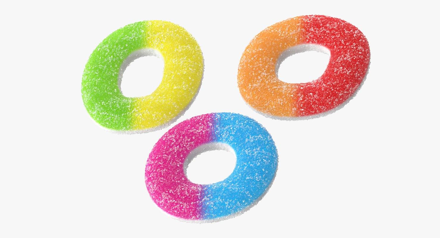 realistic sugar gummy rings obj