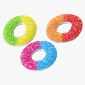 realistic sugar gummy rings obj