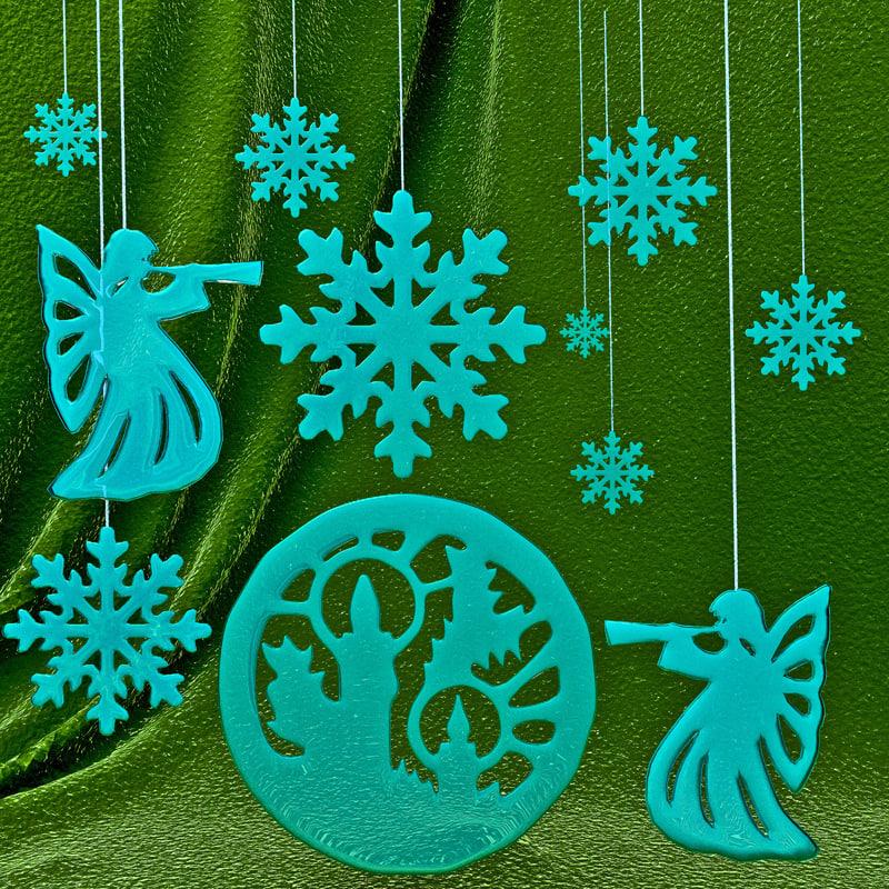 3d set snowflakes model