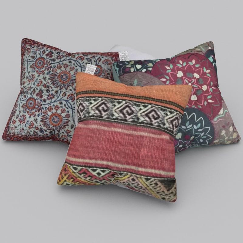 realistic decorative pillows 3d blend